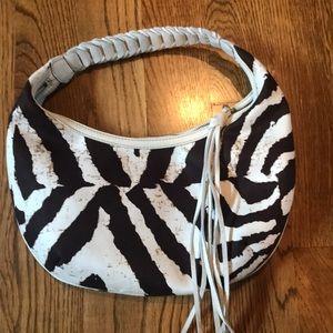 Banana Republic zebra shoulder bag, cream leather.